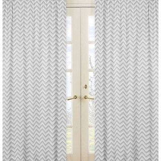 Sweet Jojo Designs Grey Chevron Curtain Panels (Set of 2)