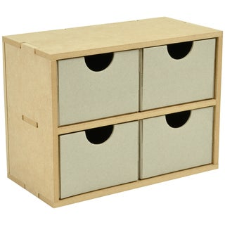 "Beyond The Page MDF 4 Square Drawers-8.5""X6.25""X4.25"" (215x160x110mm)"