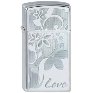 Zippo Lighter Love Flower Slim High Polish Chrome
