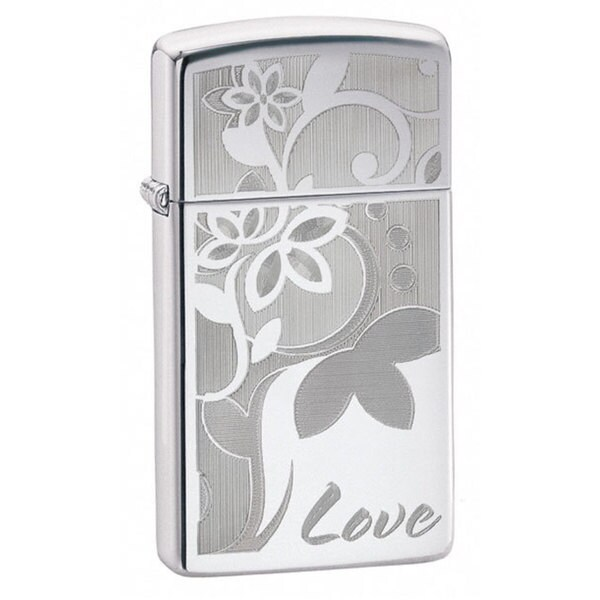 Zippo Lighter Love Flower Slim High Polish Chrome