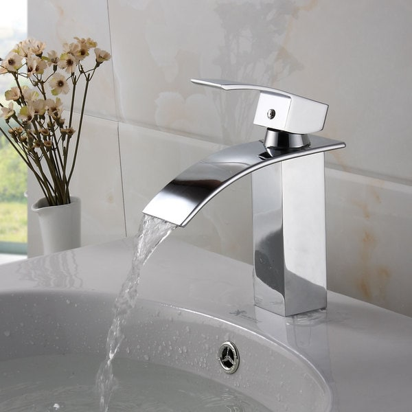 Elite Modern Bathroom Sink Waterfall Faucet Chrome Finish