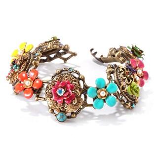 Sweet Romance Bronze Mayan Garden Flower Link Bracelet