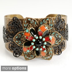 Sweet Romance Two-tone Lacquer and Glass Flower Cuff Bracelet