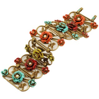 Sweet Romance Enamel Rose Trellis Bracelet