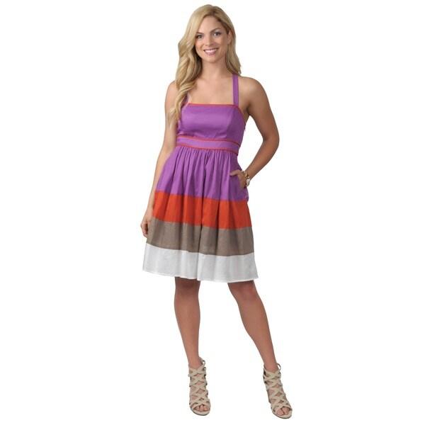 Jessica Simpson Women's Colorblock Cotton Halter Dress