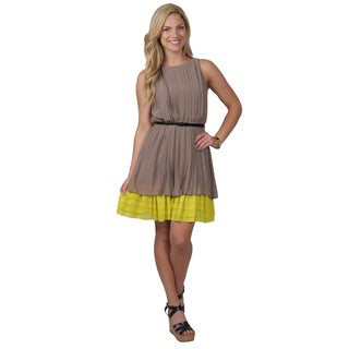 Jessica Simpson Women's Silky Sleeveless Pleated Belted Dress