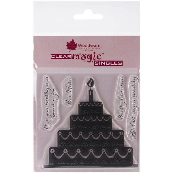 """Woodware Clear Stamps 3.5""""x3.5""""-Celebration Cake"""