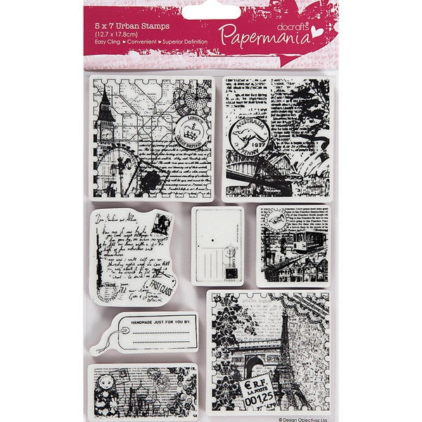 "Papermania Cling Urban Stamps 5""X7""-Bookprint With Pocket Watch"