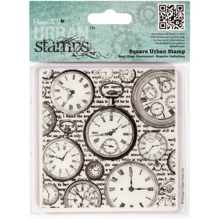 "Papermania Cling Urban Stamps 4"" Square-Time Pieces"