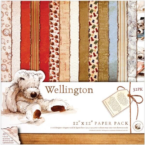 """Wellington Paper Pack 12""""X12"""" 32/Sheets-16 Designs/2 Each"""