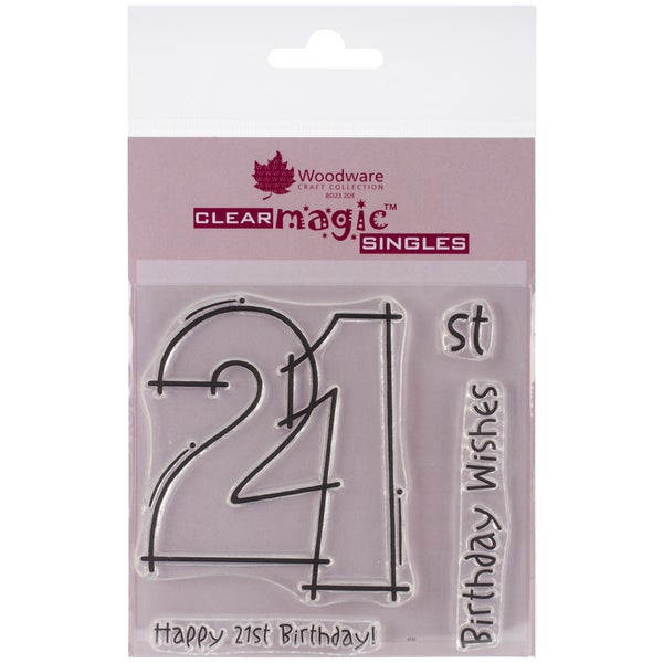 """Woodware Clear Stamps 3.5""""x3.5""""-21st Birthday"""