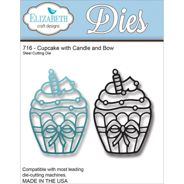 Elizabeth Craft Metal Die-Cupcake W/Candle & Bow