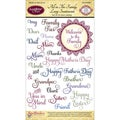 "JustRite Stampers 4""X6"" Clear Stamp Set-All In The Family Large Sentiments 23pc"
