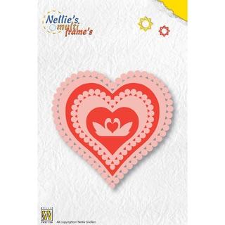 Nellie's Choice Multi Frame Dies-Heart, 5/Pkg