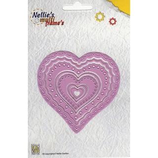 Nellie's Choice Multi Frame Dies-Heart 2, 7/Pkg