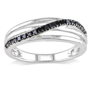 Haylee Jewels Sterling Silver 1/5ct TDW Round-cut Black Diamond Ring