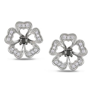 Miadora 10k Gold 1/4ct TDW Black and White Diamond Earrings (H-I, I2-I3)