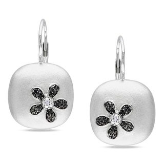 M by Miadora Sterling Silver Black and White Diamond Earrings