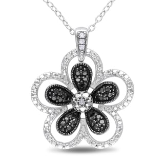 M by Miadora Sterling Silver Black and White Diamond Flower Necklace