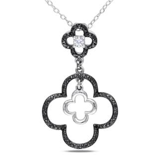 Miadora Silver 1/5ct TDW Black and White Diamond Necklace (H-I, I2-I3)