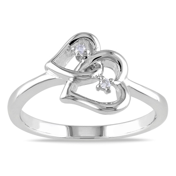 Haylee Jewels Sterling Silver Round-cut Diamond Heart Ring
