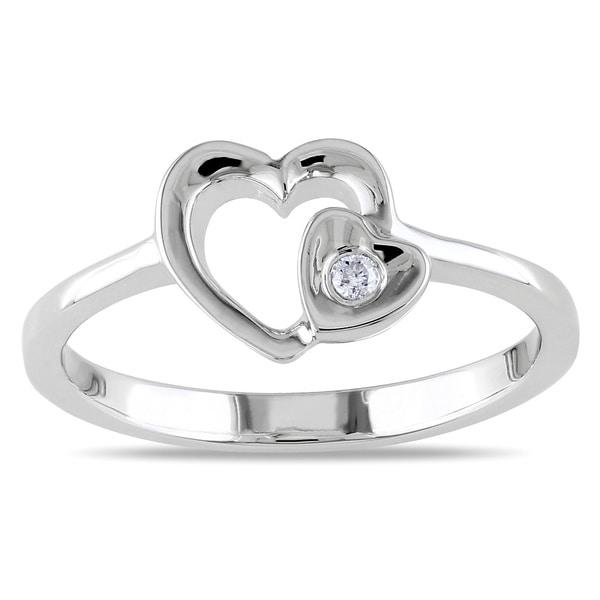 Haylee Jewels Sterling Silver Diamond Heart Ring