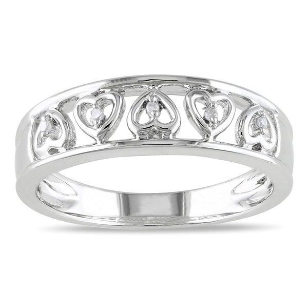 Miadora Sterling Silver Diamond Band