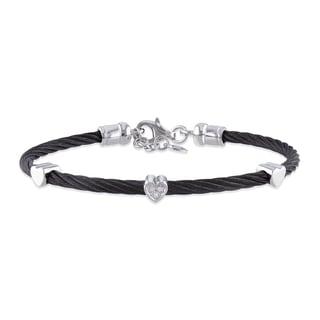 M by Miadora Stainless Steel Diamond Black Cable Heart Bracelet
