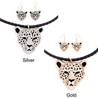 Gold or Silver tone Wildcat Pendant Necklace/ Earring Set