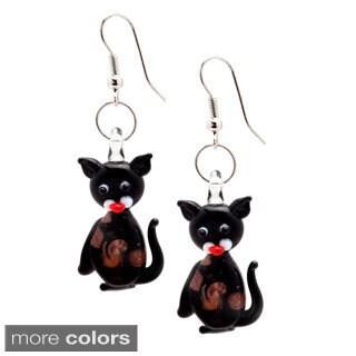 Murano Inspired Glass Kitty Cat Dangle Earrings