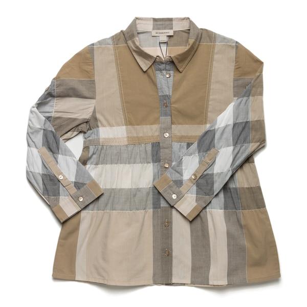 Burberry Girl's Check Print Empire Waist Shirt