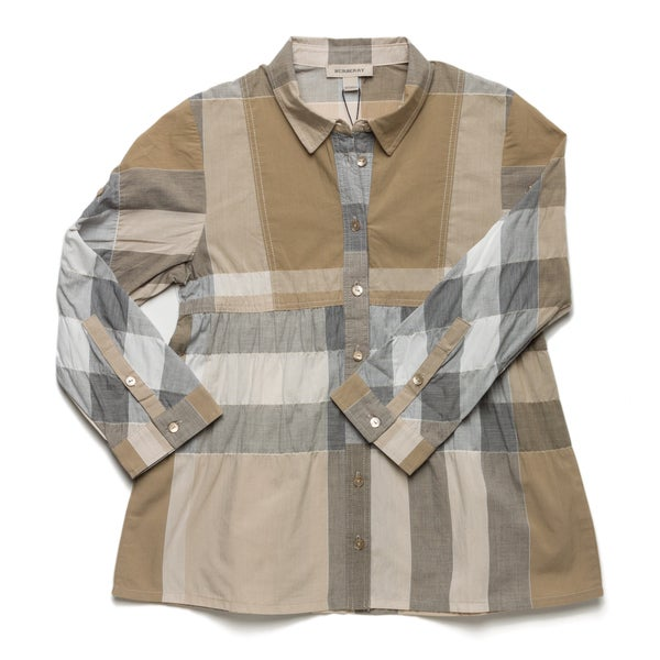 Burberry Girl's Check Print Empire Waist Shirt