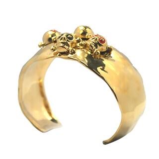 De Buman 14k Goldplated Enamel Skull Cuff Bracelet