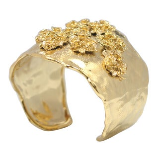 De Buman 14k Goldplated Flower Cuff Bracelet