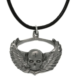 CGC Pewter Winged Skull with Rose Biker Style Necklace