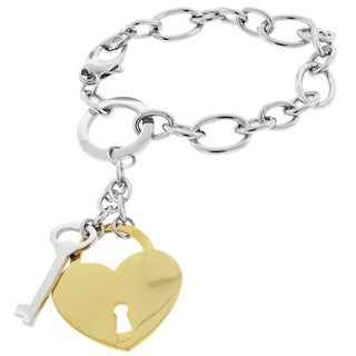 Moise Two-tone Stainless Steel Key and Heart Lock Charm Bracelet