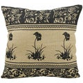 Mina Victory Life Styles Black Flowers 20 x 20-inch Natural Decorative Pillow by Nourison