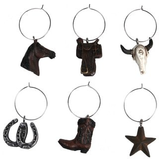 Western/Cowboy Themed Wine Glass Charms (Set of 6)