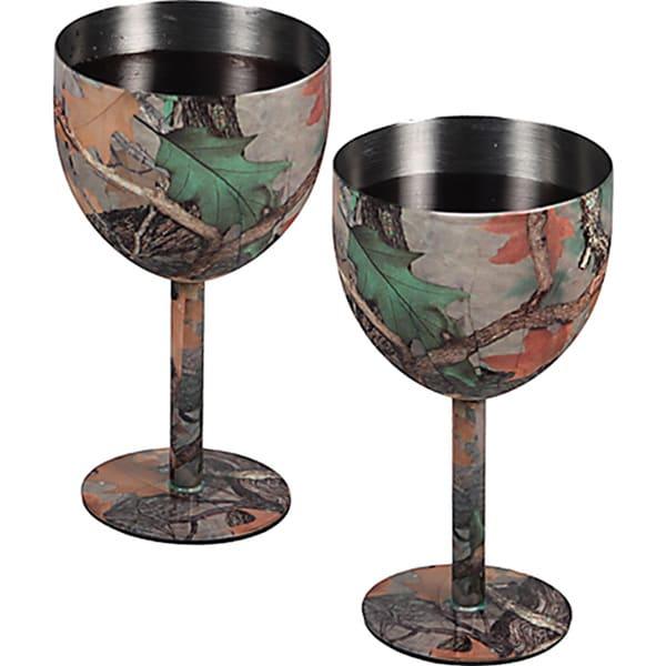 Camouflage Steel Wine Goblets (Set of 2)