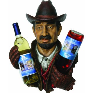Hand-painted Resin Cowboy Double Wine Bottle Holder