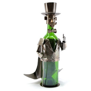 Wine Caddy Smoking Gentleman Recycled Metal Wine Holder