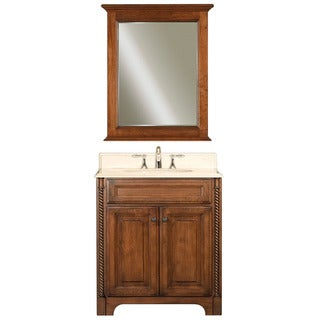 Water Creation Spain 30-inch Classic Golden Straw Vanity with Marble Top in Sahara and Matching Mirror