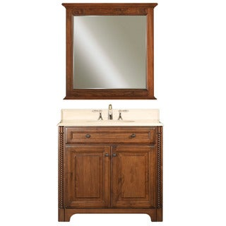 Water Creation Spain 36-inch Classic Golden Straw Vanity with Marble Top in Sahara and Matching Mirror