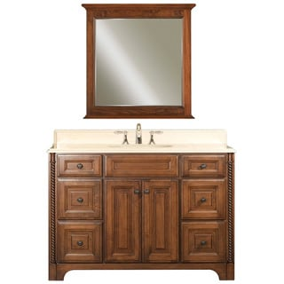 Water Creation Spain 48-inch Classic Golden Straw Vanity with Marble Top in Sahara and Matching Mirror