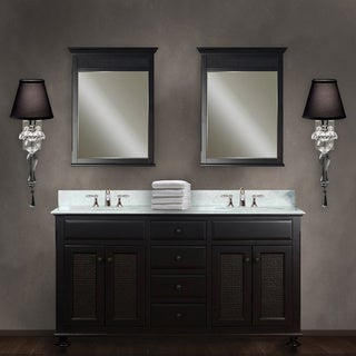 Water Creation London 60-inch Dark Espresso Vanity with Marble Top and Two Matching Mirrors