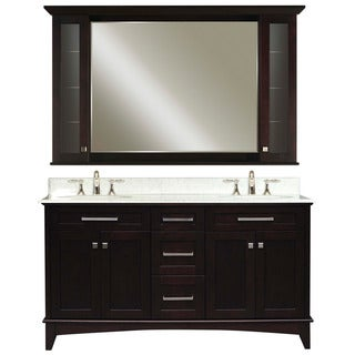 Water creation manhattan 60 inch dark espresso vanity with marble top and matching medicine for Bathroom vanity with matching cabinet
