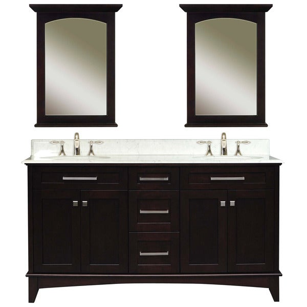 Water Creation Manhattan 60-inch Dark Espresso Vanity with Marble Top and Two Matching Mirrors
