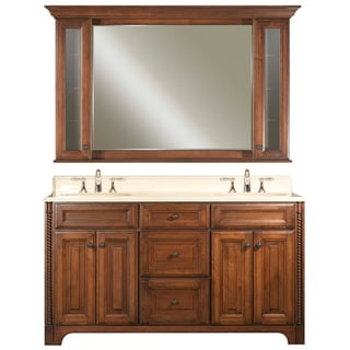 Water Creation Spain 60-inch Classic Golden Straw Vanity with Marble Top and Matching Medicine Cabinet