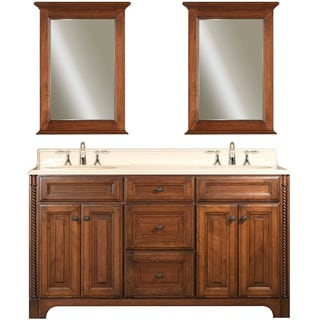 Water Creation Spain 60-inch Classic Golden Straw Vanity with Marble Top and Two Matching Mirrors