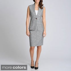 Sharagano Suits Women's Sleeveless Textured Skirt Suit